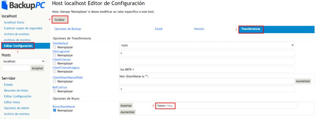 Configuració del host